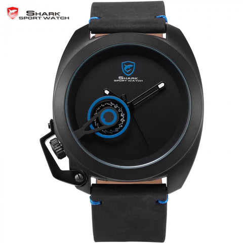 Official Release Tawny Shark Sport Watch -  (Blue, Special Date, Classic Design, Leather Band, Military Tag, Waterproof Quartz Men Watches / SH448 ) - ShopNowBeforeYouDie.com