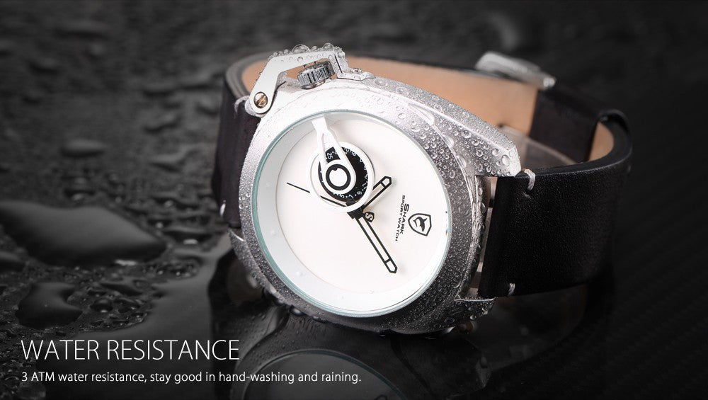 Official Release Tawny Shark Sport Watch - (White, Special Date, Classic Design, Leather Band, Military Tag, Waterproof Quartz Men Watches / SH448 ) - ShopNowBeforeYouDie.com
