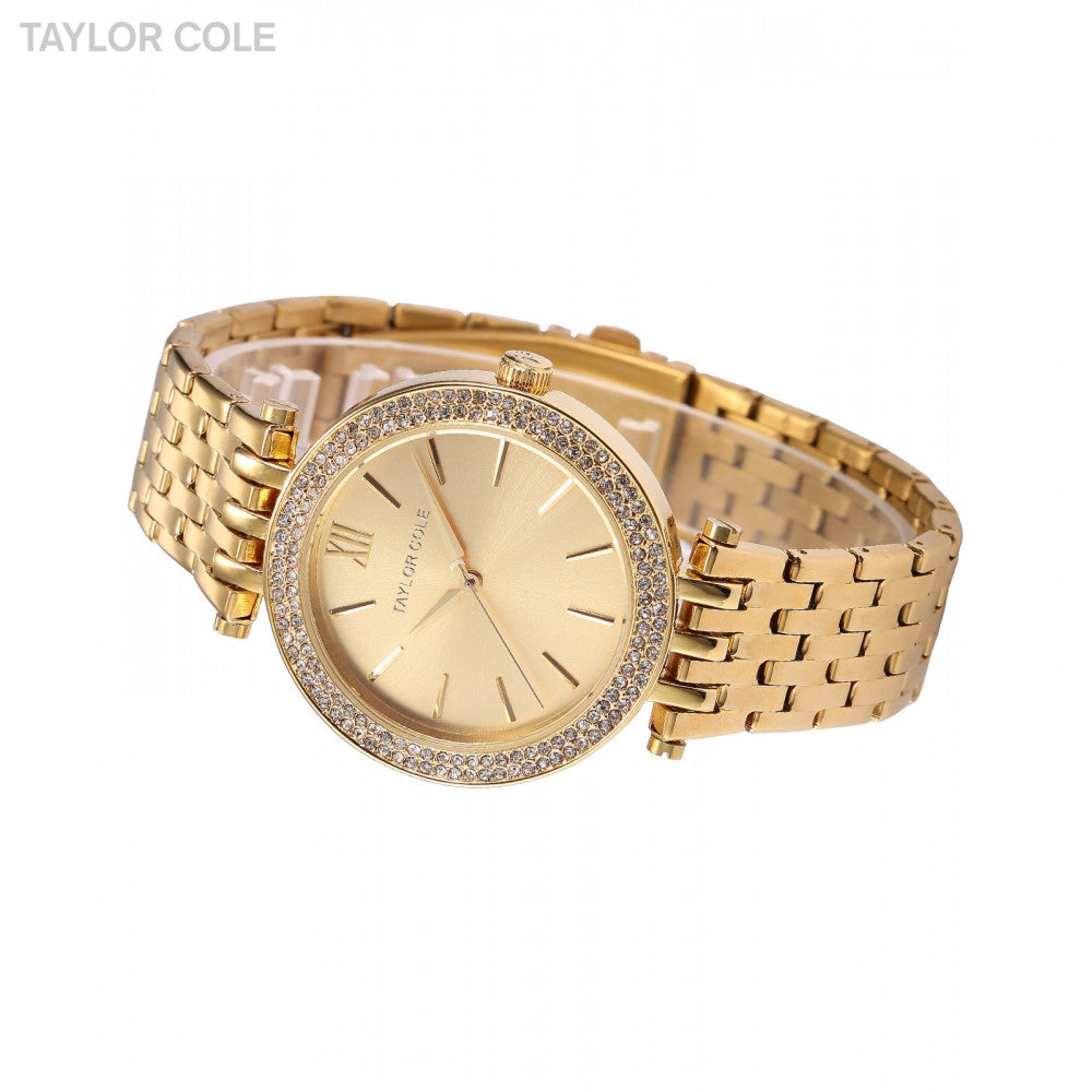 Taylor Cole Luxury Brand Gold Rond Bling Crystal Bezel Relogios Feminino Quartz Analog Clock Casual Women Dress Wristwatch/TC001 - ShopNowBeforeYouDie.com