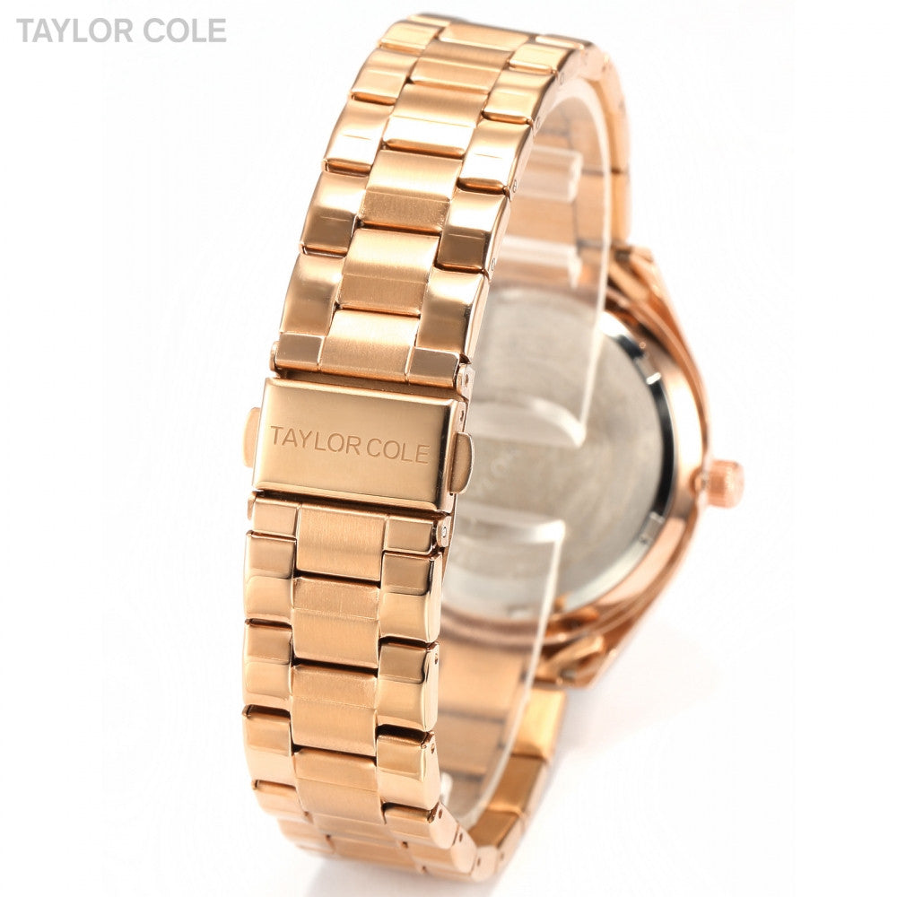Taylor Cole Auto Date Day Display  Rose Gold Full Steel Strap Relojes Women Quartz Casual Clock Lady Crystal Dress Watch / TC009 - ShopNowBeforeYouDie.com