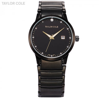 Taylor Cole Round Black Crystal Full Stainless Steel Strap Female Quartz Dress Watch/TC022 - ShopNowBeforeYouDie.com