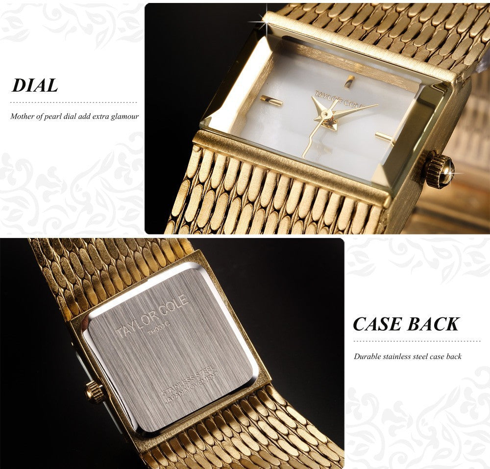 Brand New Taylor Cole Women Golden Square Quartz Movement Brass Wristwatch / TC034 - ShopNowBeforeYouDie.com