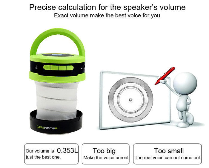 GoldHorse 2-in-1 Wireless Bluetooth 3.0 Hands-free Speaker with LED Lantern Flashlight for Tablet PC MP4 Mobile Phone iPod - ShopNowBeforeYouDie.com