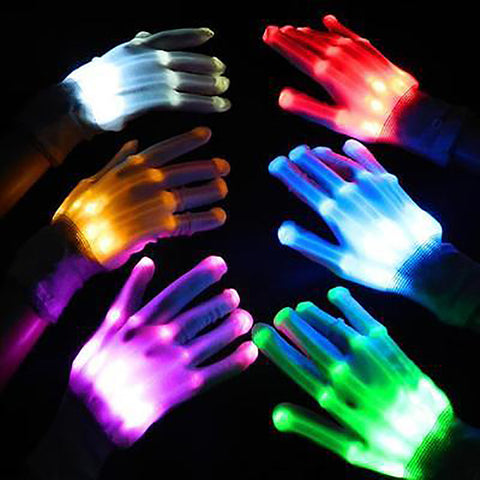Fetoo Colorful LED Gloves Rave Light Finger Lighting Flashing Gloves Unisex skeleton Gloves P20 - ShopNowBeforeYouDie.com