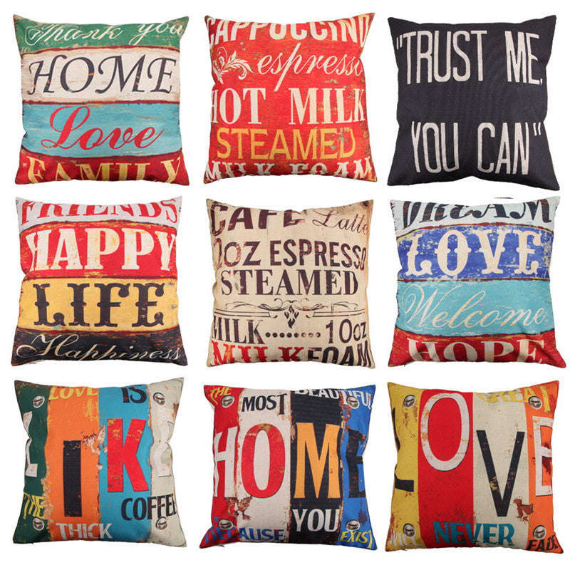 9 Styles 45x45cm Cotton Linen Quote Cushion Cover Cover Creative letters Pattern Day Gift Pillow case Throw Pillow Cover