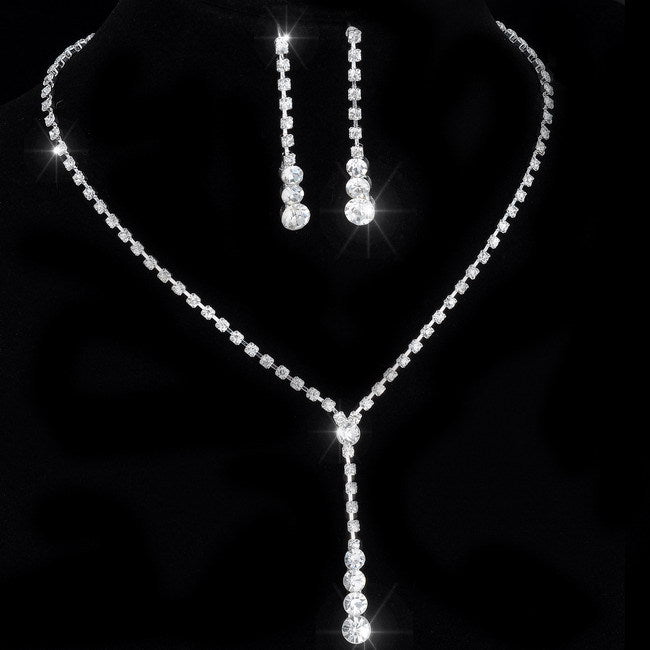 Crystal Tennis Drop Necklace Set Silver Bridal Bridesmaid Jewelry sets Rhinestone Necklace Earrings