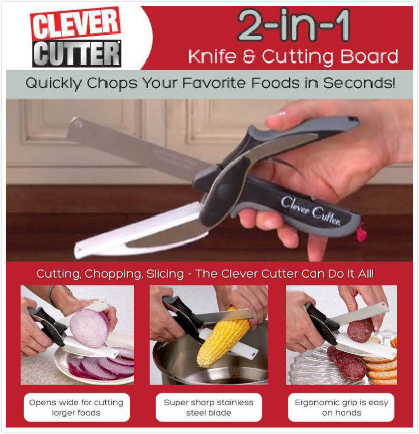 Clever Cutter 2 in 1 Knife & Cutting Board Scissors As Seen On TV   Gift - ShopNowBeforeYouDie.com