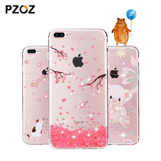 PZOZ For iphone7 Case Rhinestone Glitter Silicone Cover Original For iphone 7 Plus Luxury Crystal Diamond Soft Shell 4.7&5.5