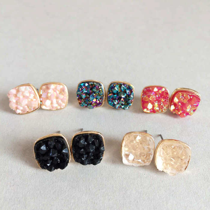 2016 earings fashion jewelry valentine's day Square jewels stud earrings more colors quartze druzy earrings for women