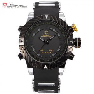 Luxury Brand Goblin Shark Sport Watch Men Relogio Masculino 3D Design Silicone Band LED Digital Black Quartz Mens Watches /SH168 - ShopNowBeforeYouDie.com
