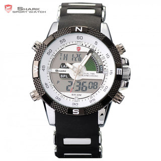 New SHARK Sport Watch Dual Time Date Silicone Strap Back Light Quartz Wrist Men Military Outdoor Hours Digital Timepiece / SH041 - ShopNowBeforeYouDie.com