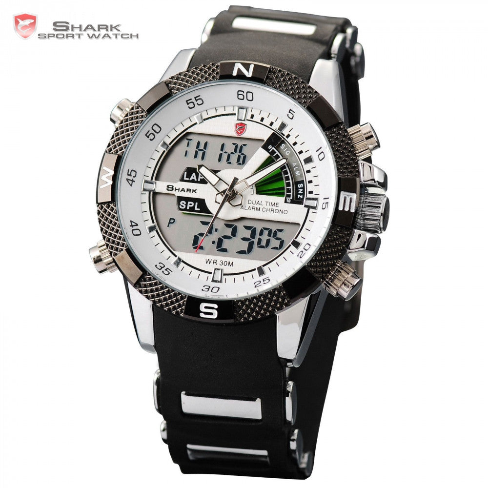 New SHARK Sport Watch Dual Time Date Silicone Strap Back Light Quartz Wrist Men Military Outdoor Hours Digital Timepiece / SH041