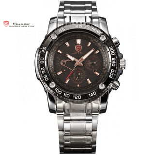 Saw SHARK Sport Watch Black Golden 6 Hands Date 24 Hours Stainless Full Steel Christmas Men Military Wrist Quartz Watches /SH017
