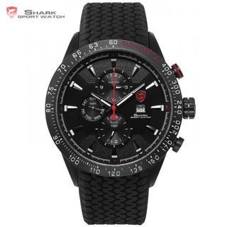Blacktip SHARK Sport Watch Black 3 Dial Dashboard 24Hrs Date Day Silicon Strap Water Resistant Men's Quartz Wrist Watches /SH395 - ShopNowBeforeYouDie.com