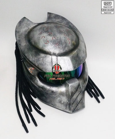 Hunter Predator Motorcycle Dot Approved,ECE Helmet Silver - ShopNowBeforeYouDie.com
