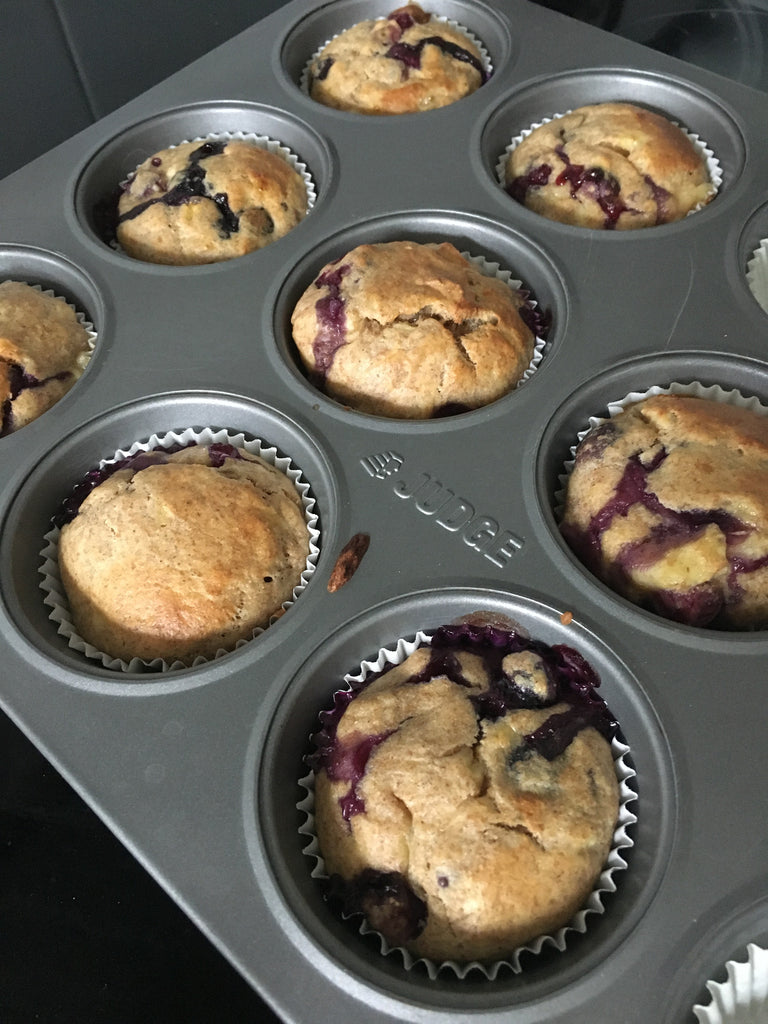 Fruity blueberry and banana muffin