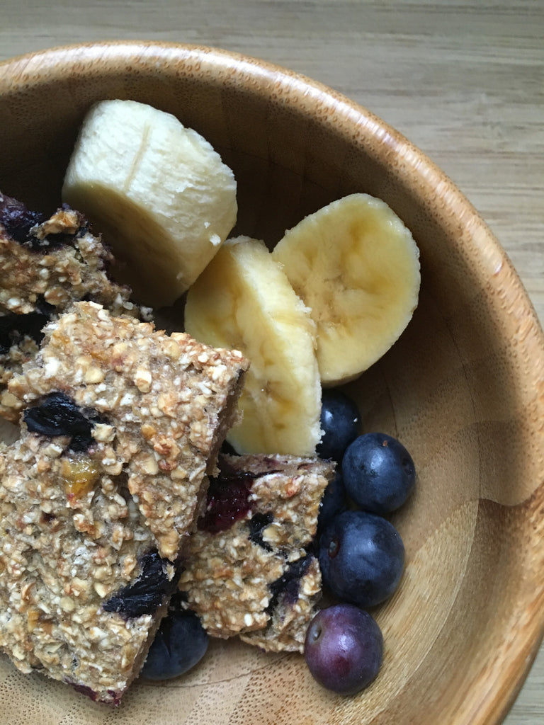 Delicious homemade banana and blueberry oat bars