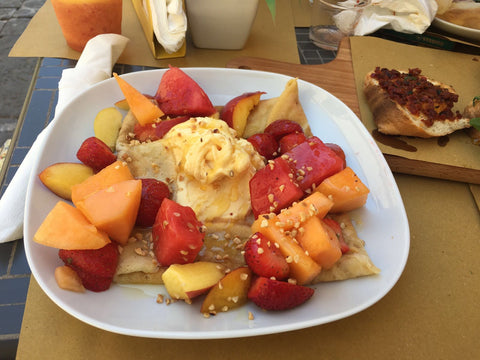 fresh fruit salad and pancakes at Picnic in Noto