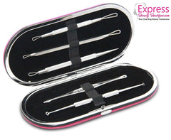 Professional Blackhead & Blemish Remover Kit 5pcs PU Leather Pink Case. SHIP to USA only