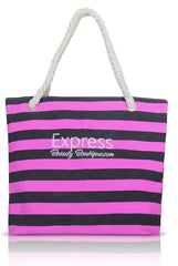 Express Beauty Boutique Travel Beach Bag, Canvas Tote. Vacation, Summer, Shoulder Shopping Bag with Rope handle.