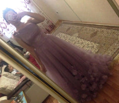 Tulle Long Wedding Bridesmaids Prom Dress