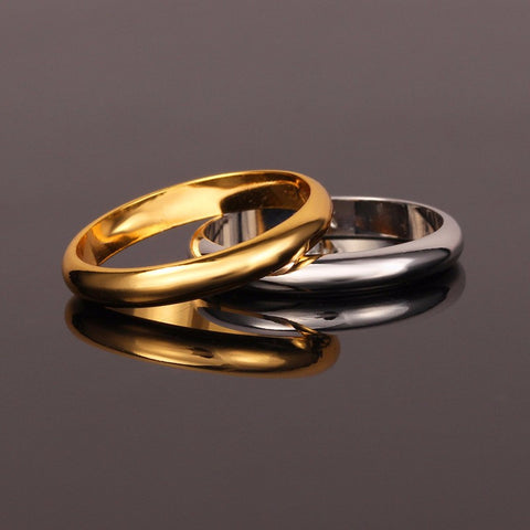Gold Plated Women/Men Rings Wedding Band Ring. FREE USA shipping