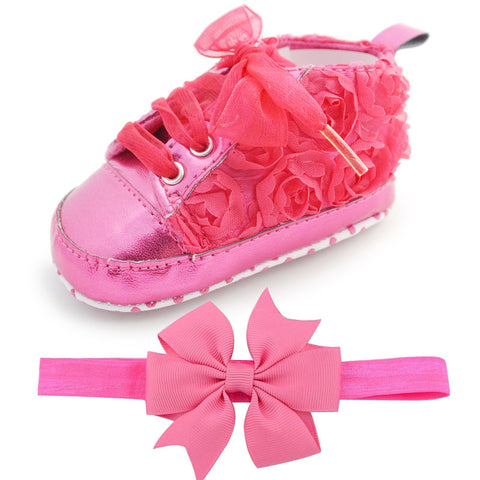 First Walker Rose Flower Baby Girl Shoes and bow headband