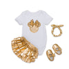 4pcs Clothing Sets Black Cotton Rompers Golden Ruffle Bloomers Shorts Shoes Headband