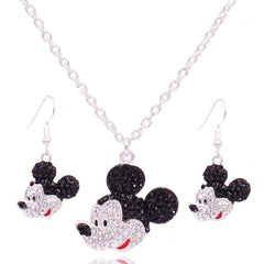 Girls Mickey Necklace Pendant Earrings set Rhinestone Crystals. FREE USA Dhipping