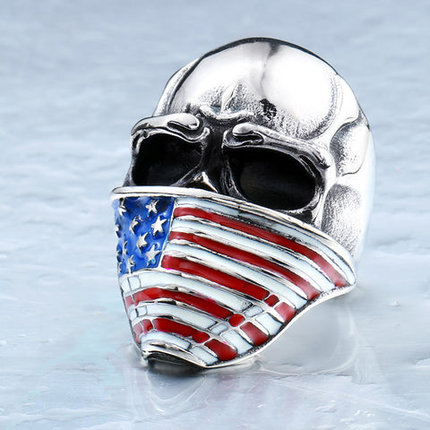American Flag Stainless Steel Skull Ring Size 7-15