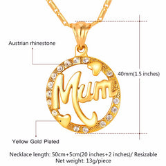 Heart Necklace & Pendant For Mum Round Rhinestone Gold Plated Chain Mother's Day Gift