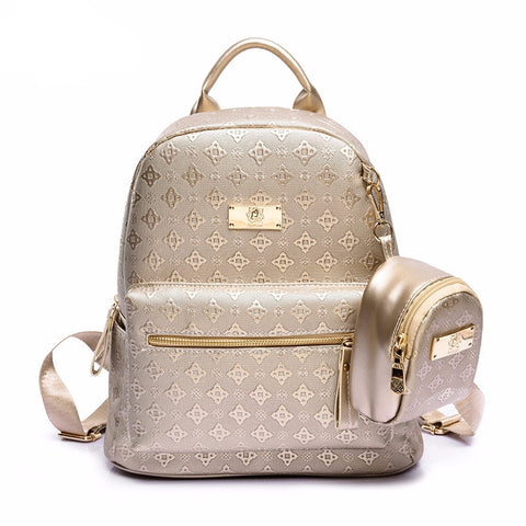 Backpack Summer PU Leather Embossing High Quality School Travel bag