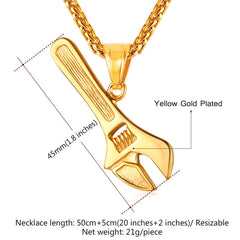 Spanner Tool Charm Necklace Stainless Steel Chain & Pendant For Plumber
