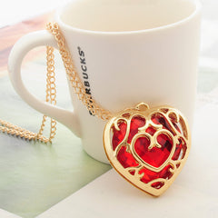 Red Heart Crystal Gold  Necklace Key chain