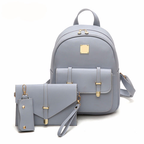 PU Leather Backpack Girls 3pcs Set School Backpack Bag