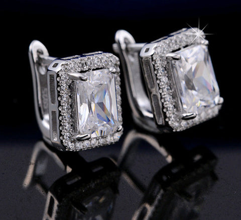 Women's Rectangle Cubic Zirconia Stud Earring