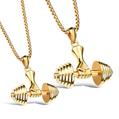 Barbell Pendant and Necklace Men's Jewelry Sport Fitness. FREE USA shipping