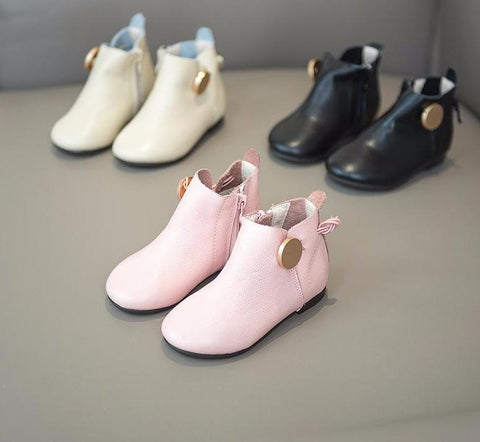 Baby Girl Toddler Shoe Booties Pu Leather Ankle Boots Pink Beige Black