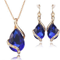 Jewelry Sets Necklace and Earrings Water Drop Crystal  Gold Plated Set For Women