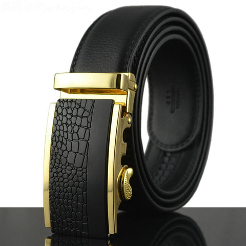 Fashion Cowhide Leather Men's Ratchet Belt  Automatic buckle