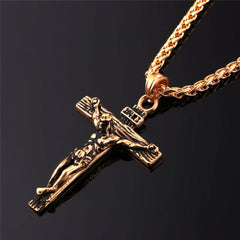 Jesus Cross Pendant & Necklace Stainless Steel Jewelry. FREE USA Shipping