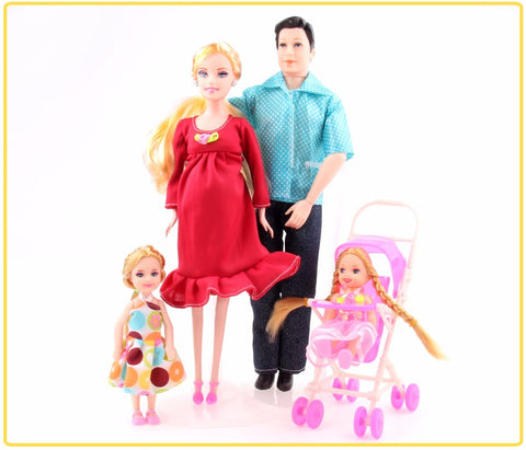 Toys Family of 5 Dolls 1 Mom /1 Dad /2 Little Girls /1 Baby Son. Ship to USA only