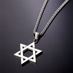 Jewish Jewelry Magen Star Stainless Steel Pendant Necklace. FREE USA Shipping