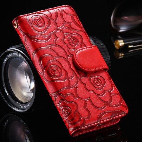 3D Flower Pattern PU Leather Phone Case for Women