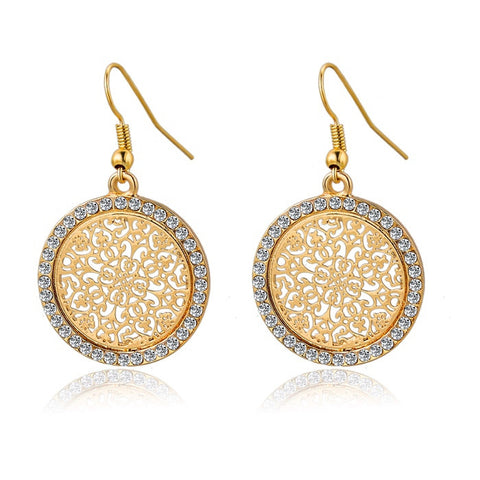 Big Round Flower Gold Silver Earrings for Women. SHIP to USA only