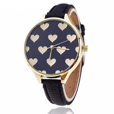 Women's Heart Casual Watch  Quartz Wrist Watch PU Leather Strap