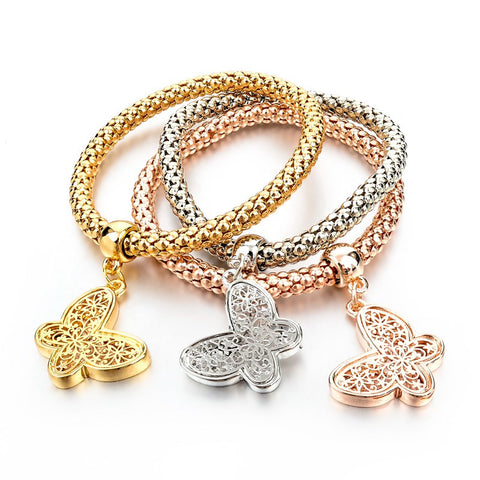 Fashion Bracelets  3 pcs Bangles Jewelry Gold Silver Chain Bracelet. SHIP to USA only