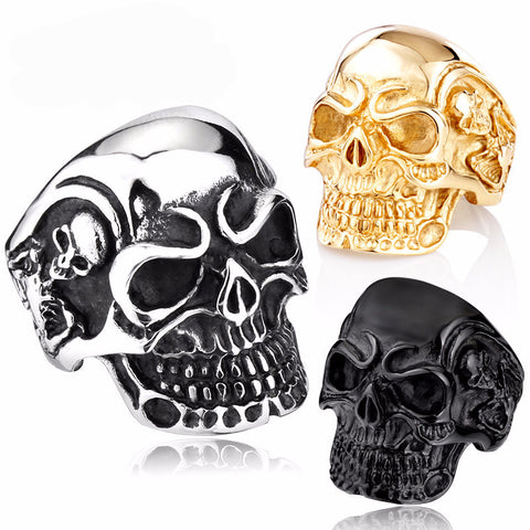 Biker Skull Stainless Steel Ring