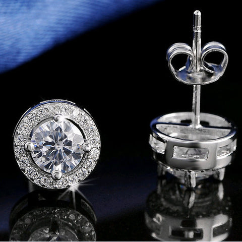 Women Earring Stud CZ Zircon Crystal Stud Earrings Platinum Plated