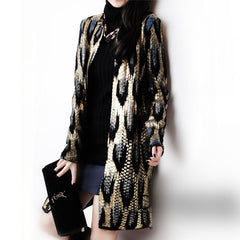 Peacock printing Ladies Cardigan Snake Pattern